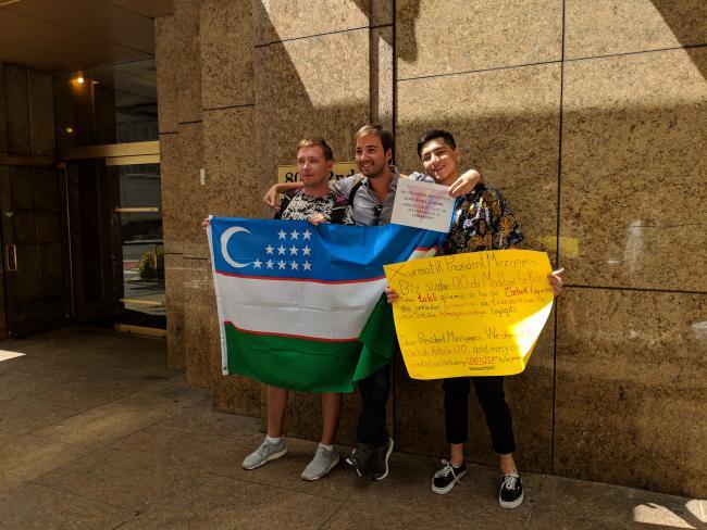 Акция у консульства Узбекистана в Нью-Йорке, США