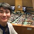 Жанар Секербаева в ООН. Фотография предоставлена активисткой